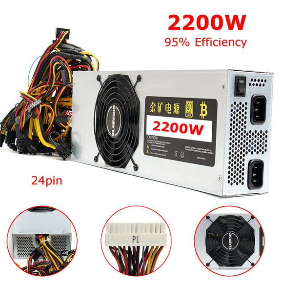 Universal 2200W 24 Pin Mining Platinum Power Supply 110-240V Miner Machine For Antminer Eth S7 S9 Bitcoin BTC Miner