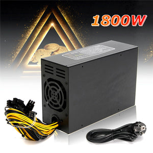1800W Miner Machine Power Supply For 6 GPU ETH BTC Ethereum Antminer S7 S9 T9 Power Supply for Server for Mining