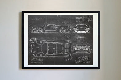 Saleen S7 (2000-04) da Vinci Sketch Art Print Blackboard
