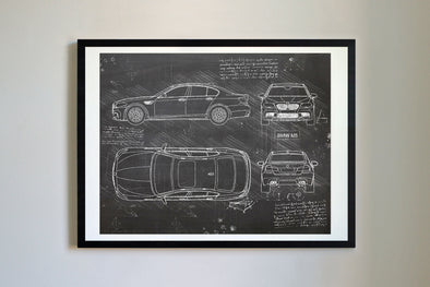 BMW M5 (2011-16) da Vinci Sketch Art Print Blackboard
