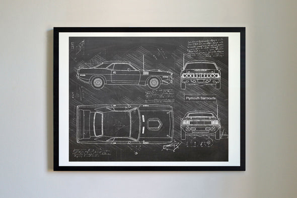 Plymouth Barracuda (1971) da Vinci Sketch Art Print Blackboard