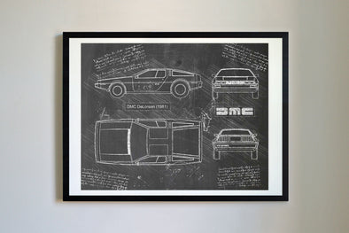 DMC DeLorean (1981-82) da Vinci Sketch Art Print Blackboard