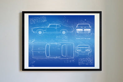 Pontiac GTO The Judge (1969) da Vinci Sketch Art Print Blueprint