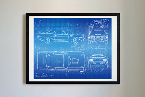 Plymouth Barracuda (1971) da Vinci Sketch Art Print Blueprint