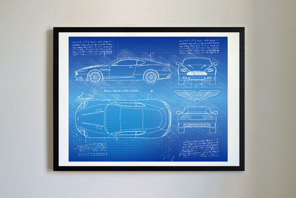 Aston Martin DB9 (2004-16) da Vinci Sketch Art Print Blueprint