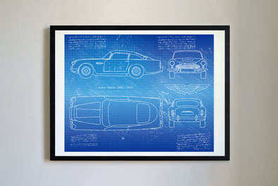 Aston Martin DB5 (1963-65) da Vinci Sketch Art Print Blueprint