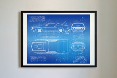 Ford Mustang BOSS 429 (1969) da Vinci Sketch Art Print Blueprint