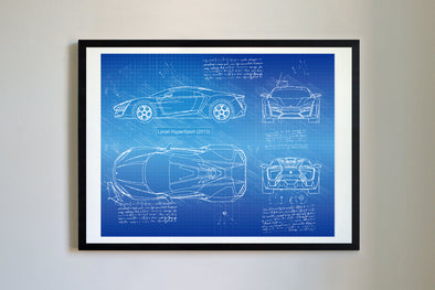 W Motors Lykan HyperSport (2013) da Vinci Sketch Art Print Blueprint
