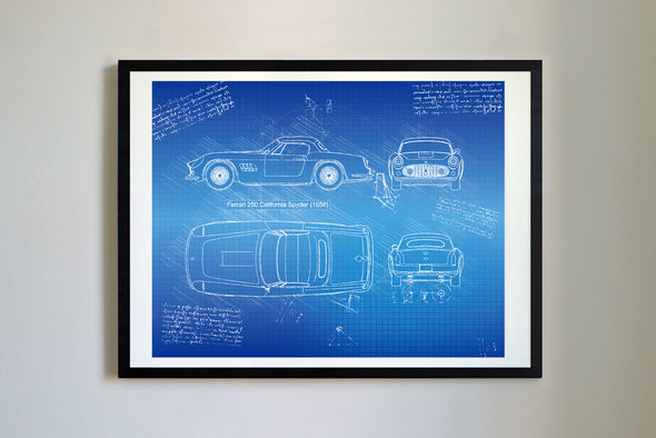 Ferrari 250 California Spyder (1958) da Vinci Sketch Art Print Blueprint