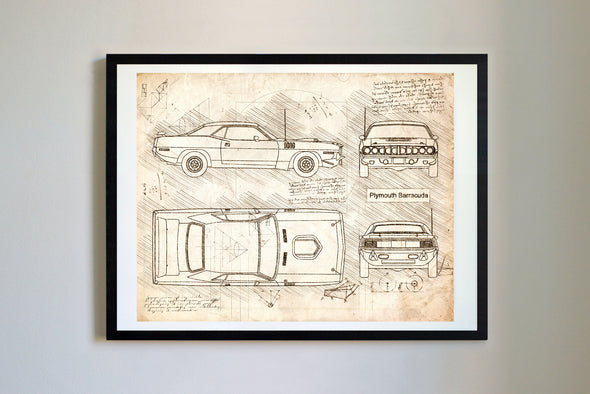 Plymouth Barracuda (1971) da Vinci Sketch Art Print Vintage