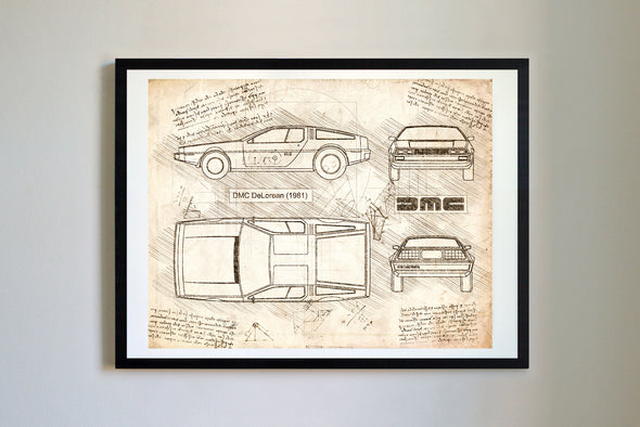 DMC DeLorean (1981-82) da Vinci Sketch Art Print Vintage