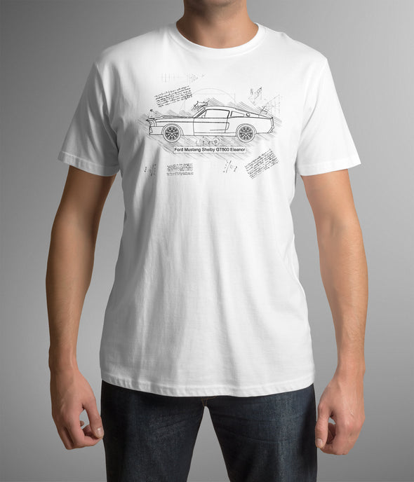 Ford Mustang Shelby GT500 Eleanor (1967) T-Shirt, da Vinci Sketch (#1)