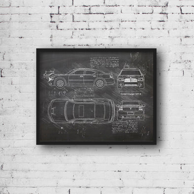 Dodge Charger SRT-8 (2006-12) da Vinci Sketch Art Print (#666)