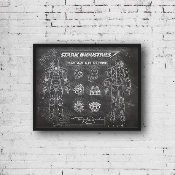 Iron Man War Machine da Vinci Sketch Art Print (#497)