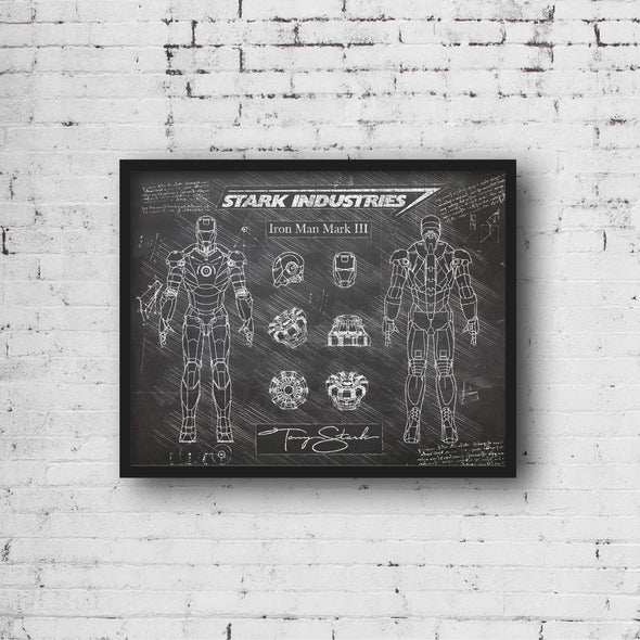 Iron Man Mark III da Vinci Sketch Art Print (#500)