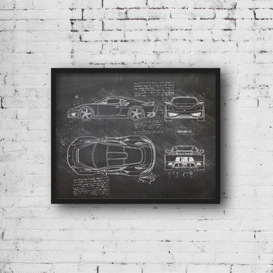 Saleen S1 (2018) da Vinci Sketch Art Print (#633)