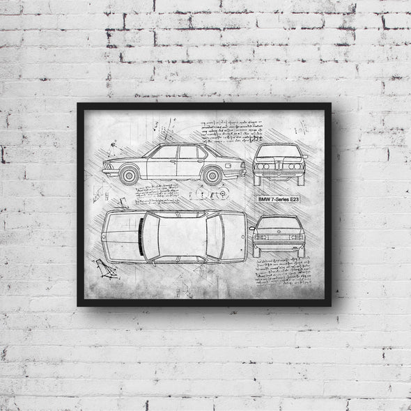 BMW 7-Series E23 (1977-86) da Vinci Sketch Art Print (#488)