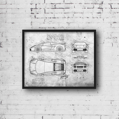 Lamborghini Gallardo Superleggera (2010-14) da Vinci Sketch Art Print (#489)