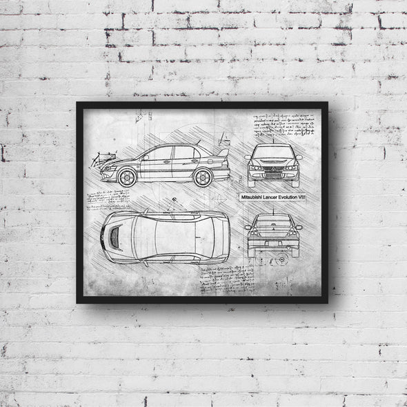 Mitsubishi Lancer Evolution VIII (2003-05) da Vinci Sketch Art Print (#615)