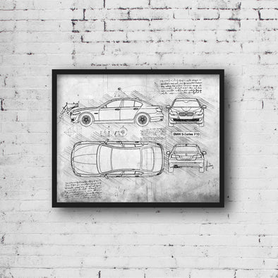 BMW 5-Series F10 (2011-17) da Vinci Sketch Art Print (#442)