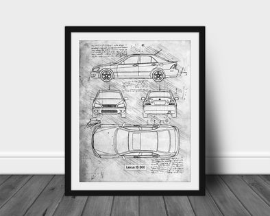 Lexus IS300 (1998-05) da Vinci Sketch Art Print (#573)