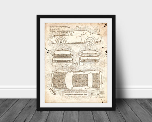 Dodge Challenger Demon (2017) da Vinci Sketch Art Print (#602)