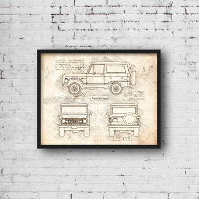 Ford Bronco (1966-69) da Vinci Sketch Art Print (#462)