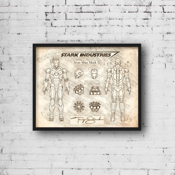 Iron Man Mark II da Vinci Sketch Art Print (#499)