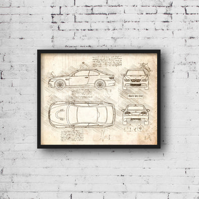 BMW M3 E92 (2007-13) da Vinci Sketch Art Print (#443)