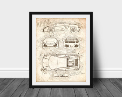 Lamborghini Gallardo Superleggera (2010-14) da Vinci Sketch Art Print (#521)
