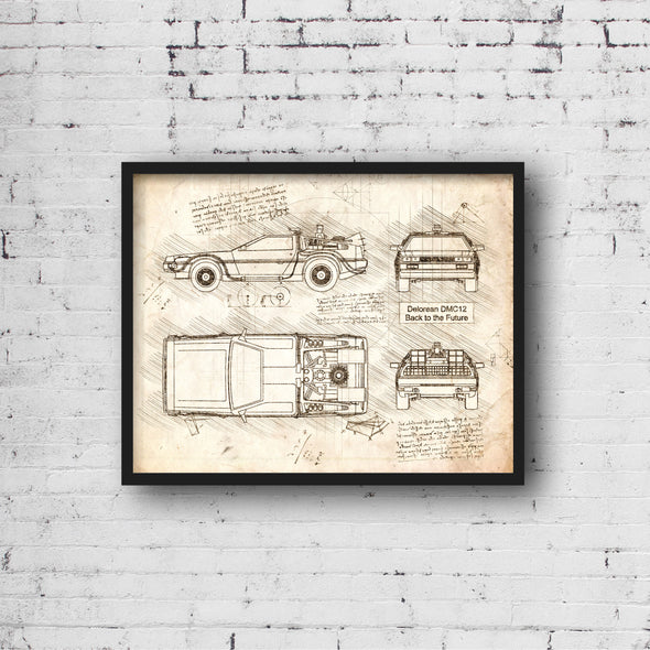 Delorean DMC Back to the Future da Vinci Sketch Art Print (#529)