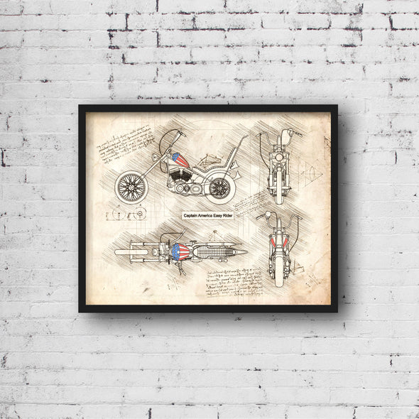 Captain America Easy Rider da Vinci Sketch Art Print (#712)