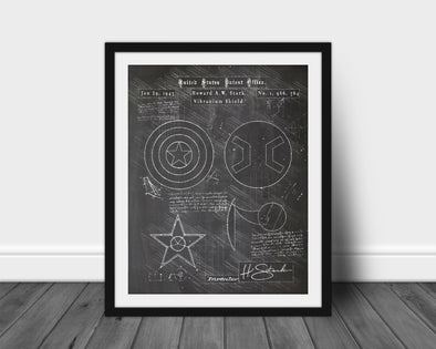 Captain America Shield da Vinci Sketch Art Print Blackboard