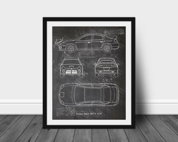Dodge Neon SRT-4 ACR (2005) da Vinci Sketch Art Print Blackboard