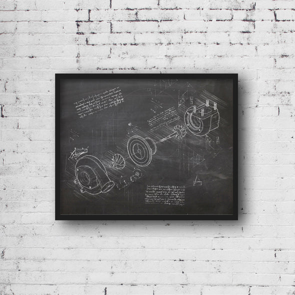 Turbo da Vinci Sketch Art Print Blackboard