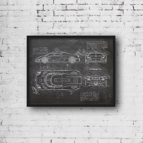 Koenigsegg One-1 (2014) da Vinci Sketch Art Print Blackboard