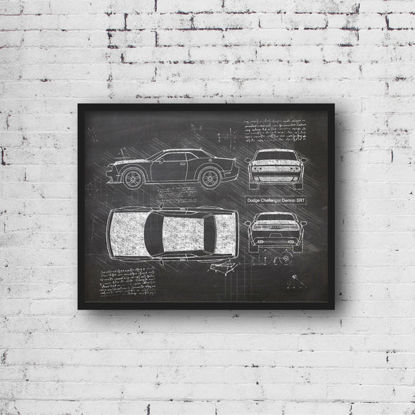Dodge Challenger Demon (2017) da Vinci Sketch Art Print Blackboard