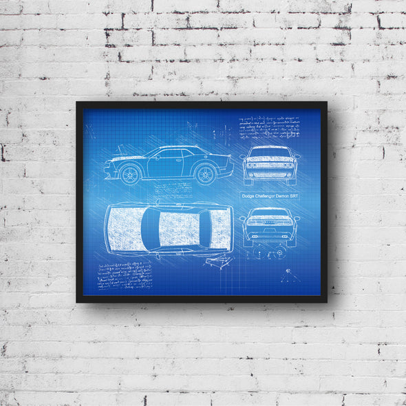 Dodge Challenger Demon (2017) da Vinci Sketch Art Print Blueprint