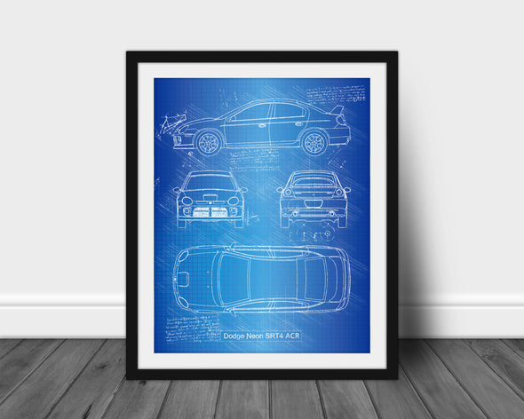 Dodge Neon SRT-4 ACR (2005) da Vinci Sketch Art Print Blueprint