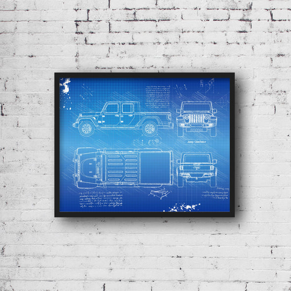 Jeep Gladiator (2019-Present) da Vinci Sketch Art Print Blueprint