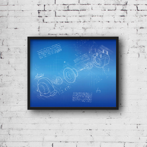 Turbo da Vinci Sketch Art Print Blueprint