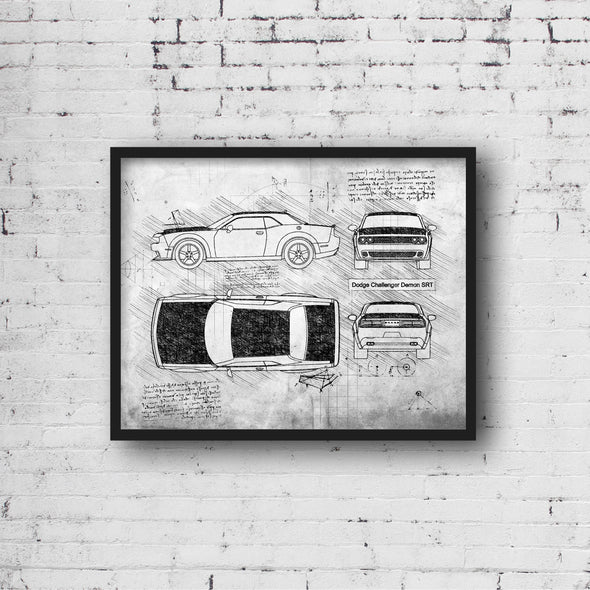 Dodge Challenger Demon (2017) da Vinci Sketch Art Print Grunge