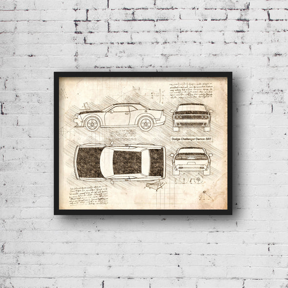 Dodge Challenger Demon (2017) da Vinci Sketch Art Print Vintage
