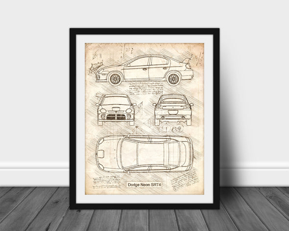 Dodge Neon SRT-4 (2004-05) da Vinci Sketch Art Print (#547)