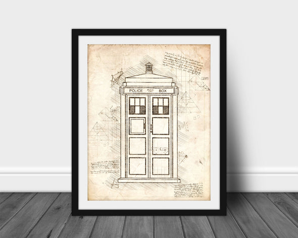 Doctor Who Tardis - da Vinci Sketch Art Print