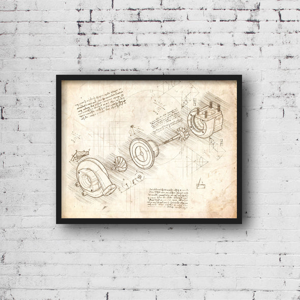 Turbo da Vinci Sketch Art Print Vintage