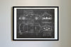 Bugatti Veyron Supersport (2010) da Vinci Sketch Art Print Blackboard