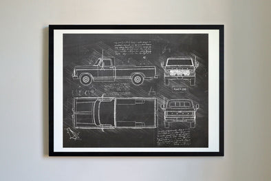 Ford F-250 (1979) da Vinci Sketch Art Print Blackboard