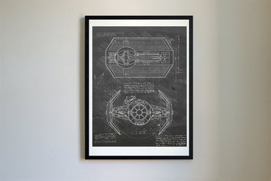 StarWars Tie Fighter da Vinci Sketch Art Print Blackboard