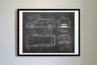 Ford Focus RS (2016-Present) da Vinci Sketch Art Print Blackboard